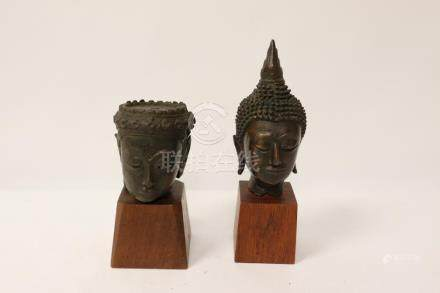 Two 18th/19th c. South Asia bronze Buddha heads