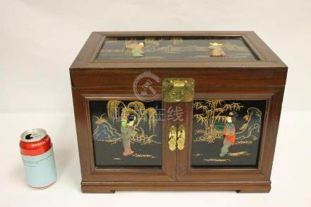 Chinese lacquer jewelry box with stone overlay