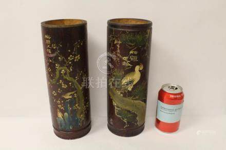 2 Chinese painted bamboo incense holders