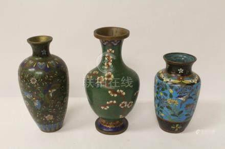 3 cloisonne vases