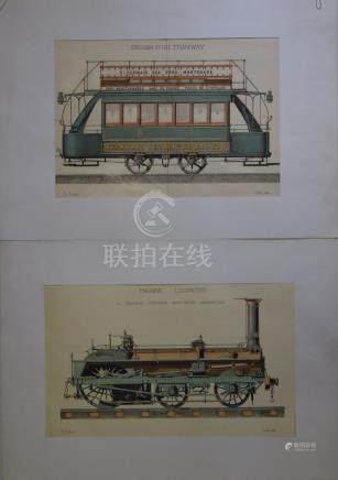 E. AUBERT (XIX ème), Tramway, Locomotive,…