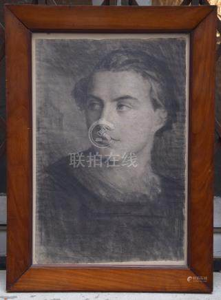 Ecole ALLEMANDE du XIX ème, portrait, fusain,…