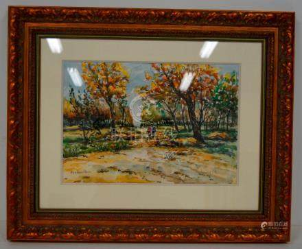 Robert LAVOINE L.P., Fontainebleau, aquarelle…