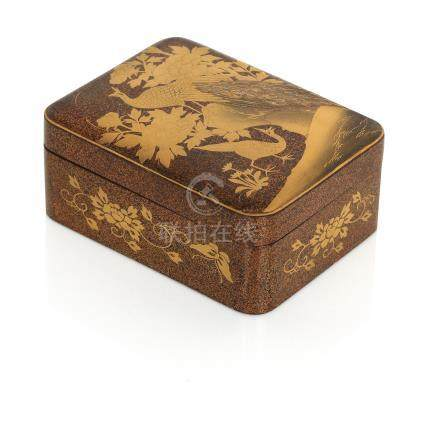 A gold lacquer box and cover Meiji era (2)