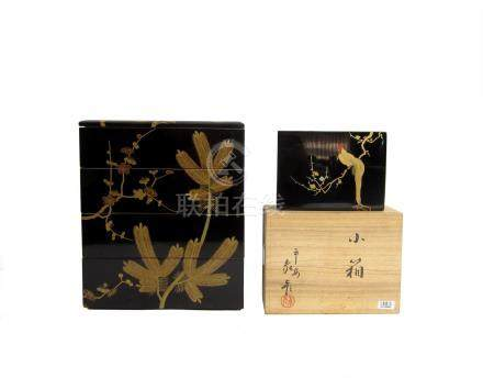 A black-lacquer jubako and a black-lacquer box The box by Zohiko, Meiji/Taisho era  (8)
