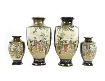 Two pairs of Satsuma baluster vases By Kizan, Meiji era (4)