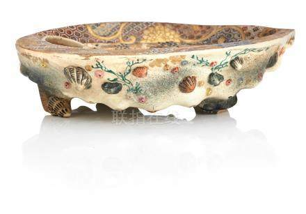 A large Satsuma shell-shaped dish Meiji era
