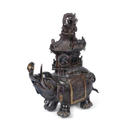 A bronze elephant-form incense burner and cover Meiji Period (2)