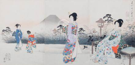 Three triptych of woodblock prints Chikanobu Yoshu (1838-1912) (3)