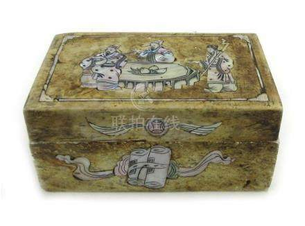 A Japanese soapstone and mother of pearl inlaid box and cover of rectangular form,