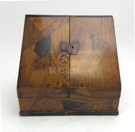 A Japanese Export marquetry inlaid stationery box,