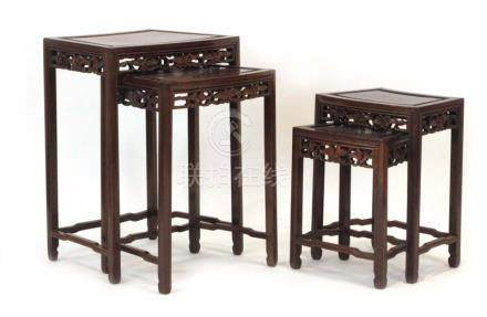 A nest of four Chinese hardwood tables of curved form, max w.