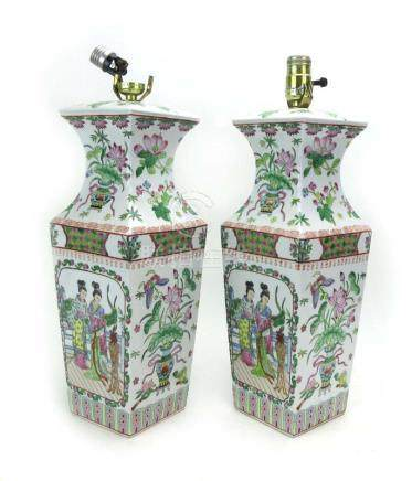 A pair of Cantonese table lamp bases of shouldered canted form,