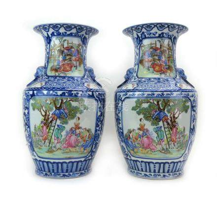 A pair of 18th century-style Chinese Export vases of shouldered form,