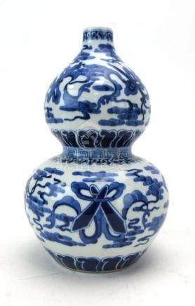 A Chinese blue and white double gourd vase decorated with baskets of flowers,