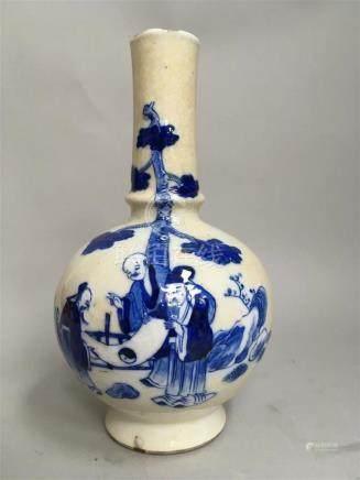 Vase sur talon en porcelaine craquelée à...