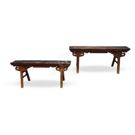 A PAIR OF NORTHERN CHINESE 'GATE-BENCHES', QING DYNASTY, 19TH CENTURY
