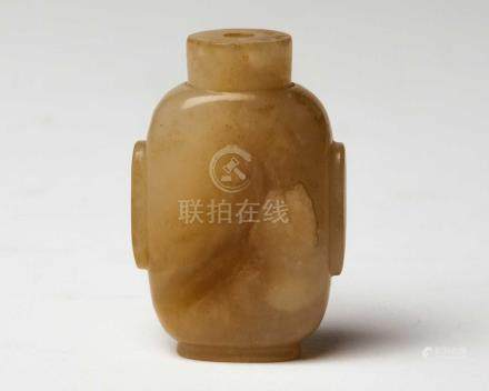 A CHINESE YELLOW JADE SNUFF BOTTLE, QING DYNASTY, 19TH CENTURY Of rectangular form with rounded