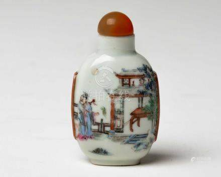 A CHINESE FAMILLE ROSE 'IMMORTAL' SNUFF BOTTLE, QING DYNASTY, DAOGUANG MARK AND PROBABLY OF