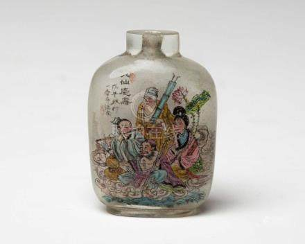 A CHINESE INSIDE-PAINTED GLASS 'EIGHT IMMORTALS' SNUFF BOTTLE Of compressed rectangular form with