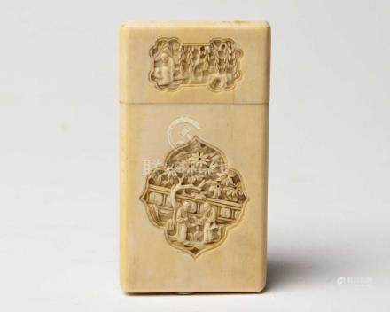 A CHINESE CANTON CARVED IVORY CARD CASE AND COVER, QING DYNASTY, 19TH CENTURY NOT SUITABLE FOR