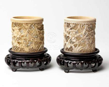 A PAIR OF CHINESE IVORY BRUSHPOTS 'BITONG' REPUBLIC PERIOD, 1922-1949 NOT SUITABLE FOR EXPORTEach