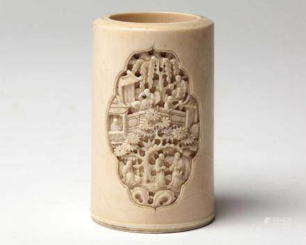 A CHINESE CANTON CARVED IVORY BRUSHPOT 'BITONG', QING DYNASTY, 19TH CENTURY the circular body deeply