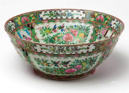A CHINESE CANTON FAMILLE ROSE 'ROSE MEDALLION' BOWL The interior brightly enamelled with alternating