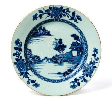 A CHINESE BLUE AND WHITE 'NANKIN PATTERN' PLATE, QING DYNASTY, QIANLONG, 1736 - 1795 Painted to