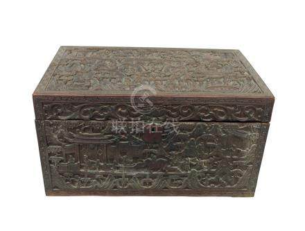 A Chinese carved wood work box, 19th century, profusely carved with figures on bridges,