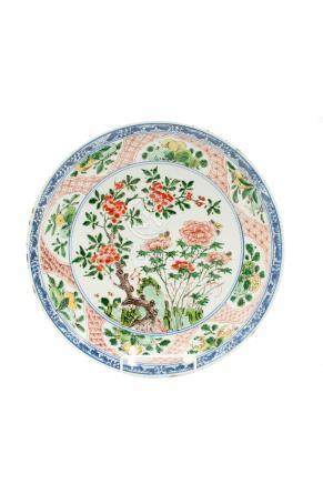 A Chinese porcelain famille verte plate, Kangxi period,