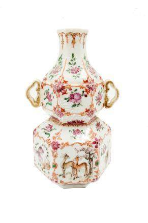A Chinese famille rose porcelain double gourd vase, circa 1760,