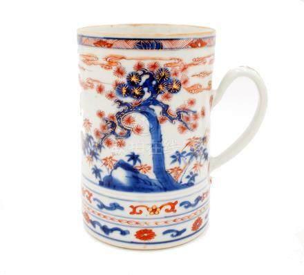 A Chinese Imari porcelain tankard, 18th century,