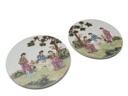 A pair of Chinese famille rose circular plaques, Republic Period,