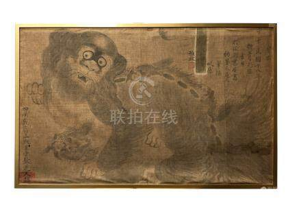 An interesting Chinese painting on cotton, Republic period,