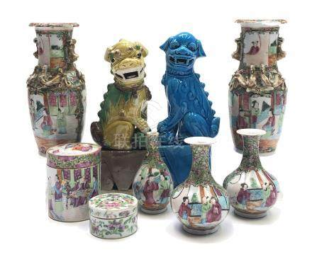 Seven items of Chinese canton porcelain, 19th century, to include a pair of vases, height 21cm,