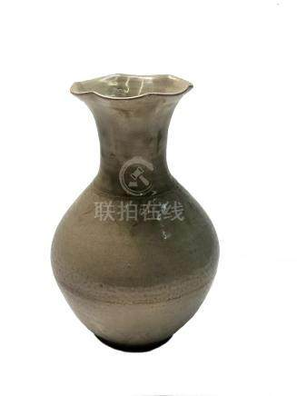 A Chinese celadon baluster vase, Song dynasty, with a flared rim, height 21.5cm.