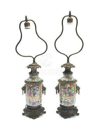 A pair of Chinese Canton porcelain lamp vases, late 19th century,