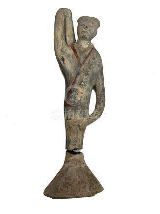 A ceremonial female attendant pottery tomb figure, Han dynasty, height 38.5cm.