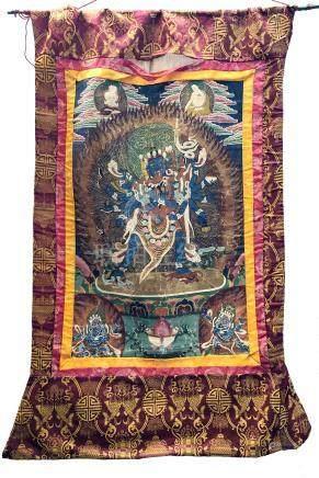 A Tibetan painted thangka of the Hevajra, 119 x 88cm.