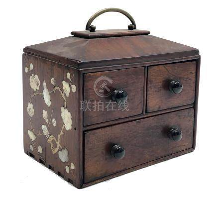 A Chinese small wooden box of three drawers,