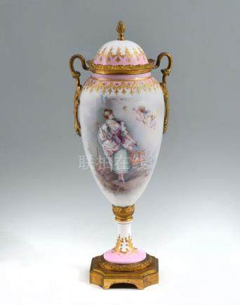 SEVRES SIGNED FIGURAL COVERED URN