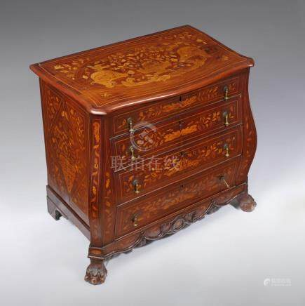 KETTLE FRONT 18TH CENTURY DUTCH MARQUETRY CHEST