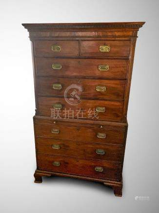 EARLY CHIPPENDALE CHEST ON CHEST
