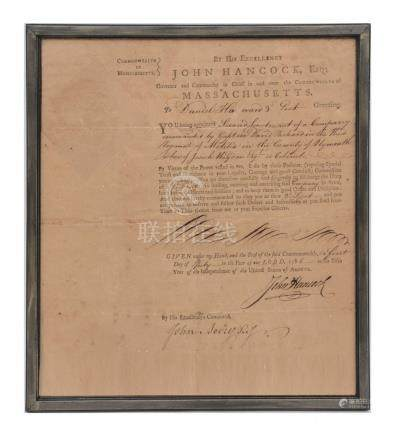 IMPORTANT SIGNED JOHN HANCOCK DOCUMENT 1781