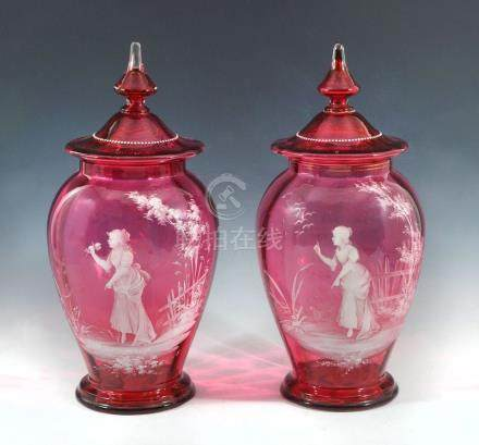 2 LARGE MARY GREGORY COVERED JARS