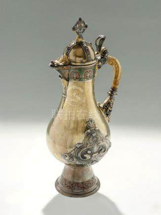 IMPORTANT 19TH C. GILT COIN SILVER(.900) GARNET TANKARD