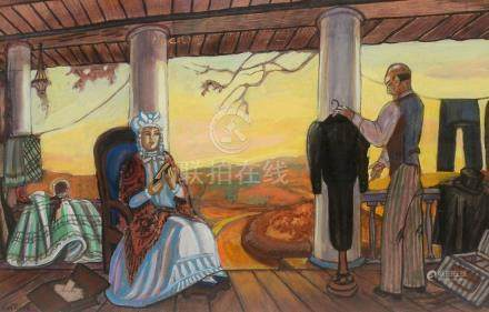 SERGEI SOUDEIKINE PAINTING OF A COUPLE ON A PORCH