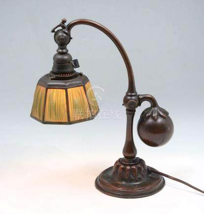 TIFFANY STUDIOS LINEN FOLD COUNTER BALANCE LAMP