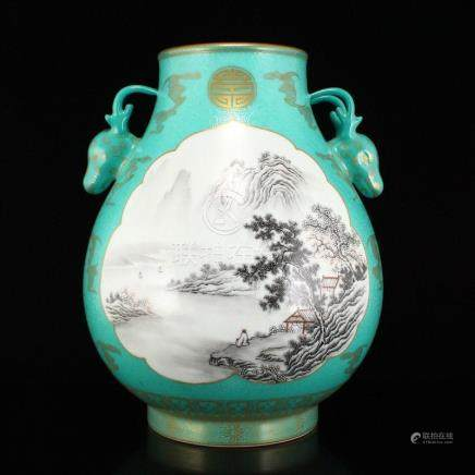 Chinese Gilt Gold Turquoise Sheep Head Porcelain Jar